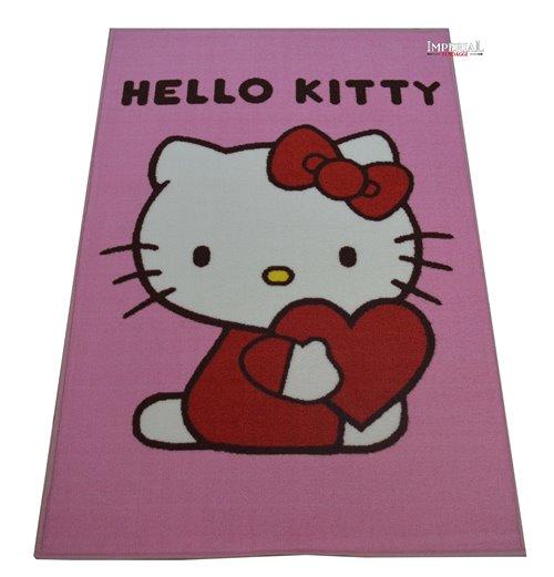 Copriletto Trapuntato Hello Kitty.Tappeto Per Bambini Disney Hello Kitty Con Cuore Gl 503 80x120 Cm