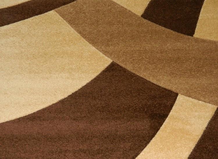 Tappeto moderno salone carvino pelo rasato beige e marrone dis